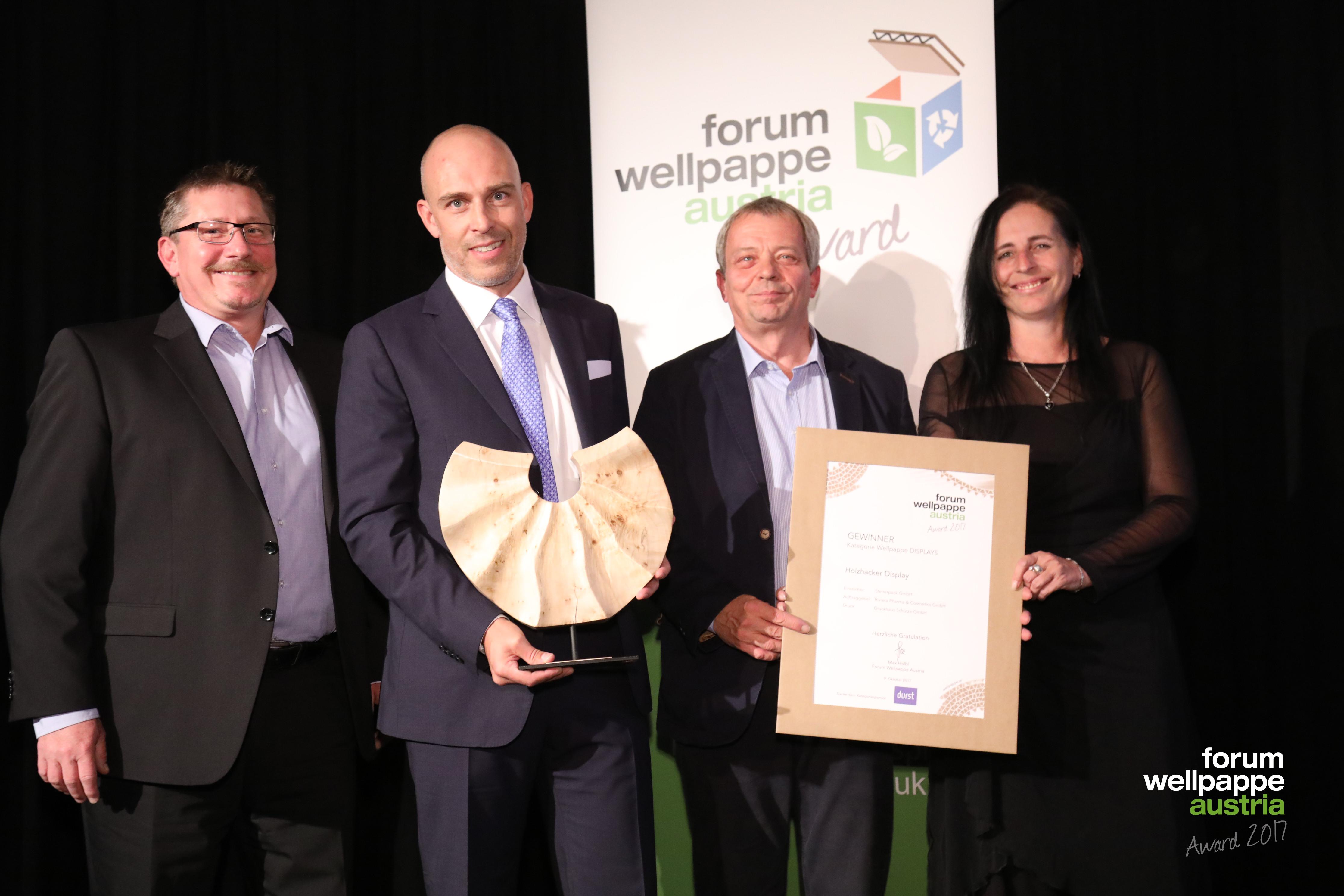 Wellpappe Award 2017 Gewinner Display F. Grafendorfer Steirerpack W. Verwuester Durst Riviera Cosmetics © L. Schedl