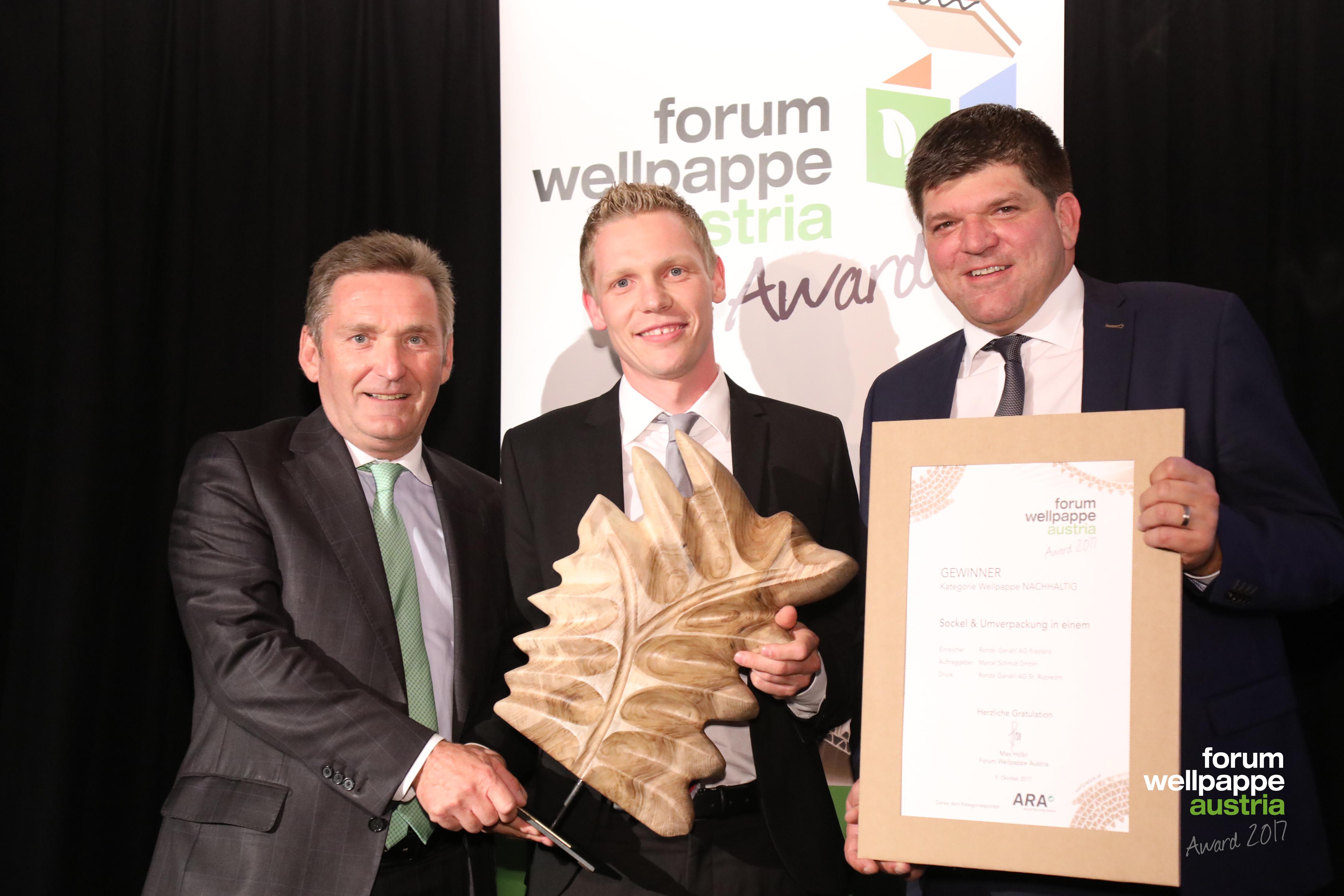 Wellpappe Award 2017 Gewinner Nachhaltig W. Knausz ARA M. Geiger Rondo S. Kaar Rondo © L. Schedl