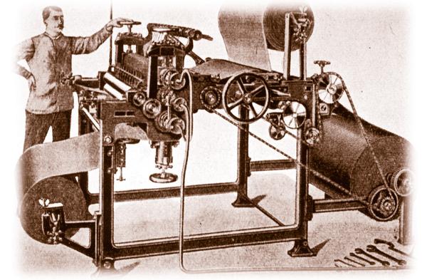 Historische Wellpappe Maschine